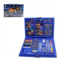 Kit  Maleta Pintura Escolar Canetinha Lápis Cor Azul 86 Pçs - Union