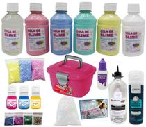 Kit Maleta Slime Completa - Colas Coloridas Perolas de Isopores Neve Corantes - Ine Slime