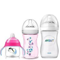 Kit Mamadeira Avent 260 330ml e Copo Pinguim Rosa - Philips avent