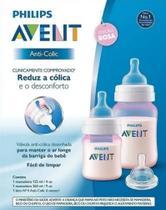 Kit Mamadeira Clássica Avent Rosa Anticólica 125 260 ml com bico 6m+ - Philips Avent