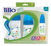 Kit Mamadeira Lillo Design Fashion Antivazamento Azul 0+ Meses -