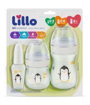 Kit Mamadeira Lillo Evolution Primeiros Passos 0-3 meses/ 0-6 meses/ 6+ meses Branco -