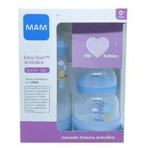 Kit Mamadeira MAM Easy Start - 130ml e 260ml - Bico 0 - Azul -