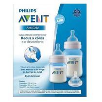 Kit Mamadeiras Anti-Cólica 125 e 260ML Azul - Philips Avent -