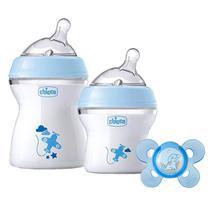 Kit Mamadeiras Chicco 150ml e 250ml e Chupeta Azul -
