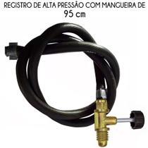 Kit Mangueira Com Registro Para Fogareiro Alta Pressao 95 Cm - Metalfer