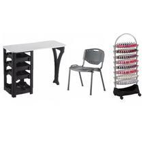 Kit Manicure Completo Mesa Cadeira e Carrinho Auxiliar Preto Dompel -