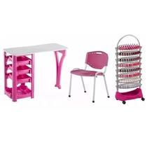 Kit Manicure Completo Mesa Cadeira e Carrinho Auxiliar Rosa Dompel -