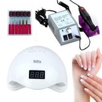 Kit Manicure Gel Iniciante Lixa Lixadeira Elétrica Portátil + Cabine Estufa Uv Com Temporizador Gel Polygel -