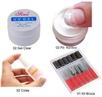 Kit Manicure Gel Uv + Pó Acrílico + Cola + Kit Brocas - Lina