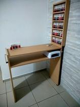 KIT Manicure MDF CRU Mesa 80cm+expositor de esmaltes c/barra de aluminio - Virtude Móveis