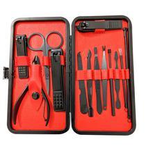 Kit manicure portatil 12 pçs alicate cortador tesoura espatula serra + estojo - Luatek