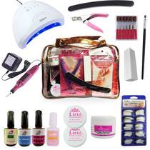 Kit Manicure Unha Gel Completo Primer Lixadeira Cabine Led -