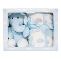 Kit manta + elefantinho azul - buba baby -