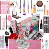 Kit Maquiagem Combo Make E Cuidados Pele Com Caixa Presente - Glow Pink