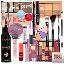 Kit Maquiagem Completo Ruby Rose Jasmyne Base Cilios Sombra -