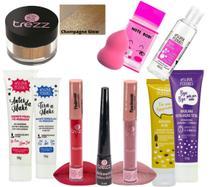 Kit Maquiagem Iluminador e Delineador Black Trezz Mais Tratamento Facial e Esponja -