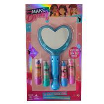 Kit Maquiagem Infantil Com Batons Espelhos Com Luzes Brinquedo Criança Menina Polibrinq -
