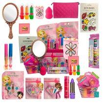 Kit Maquiagem Infantil Completo Batom Gloss Sombra Espelho - Disco Teen