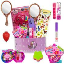 Kit Maquiagem Infantil Completo Batom Gloss Sombra Maleta - Disco Teen