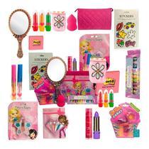 Kit Maquiagem Infantil Completo Luxo Batom Gloss Sombra - Disco Teen