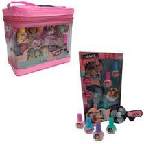 Kit Maquiagem Infantil Maleta Completa e Acessórios e Mini Ventilador Esmaltes Coloridos Glamour - Polibrinq