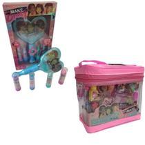 Kit Maquiagem Infantil Maleta Rosa Completa Transparente e Espelho Mágico Luz Anel Gloss Princesa - Polibrinq