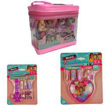 Kit Maquiagem Infantil Maleta Rosa Transparente Anel e Relógio Gloss Sombra Presilhas Princesa Luxo - Polibrinq