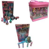 Kit Maquiagem Infantil Maleta Rosa Transparente Espelho Mágico Luz e Mini Ventilador com Esmaltes - Polibrinq