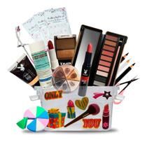Kit Maquiagem Maleta Batom Sombra Demaquilante Playboy - Pele Negra -