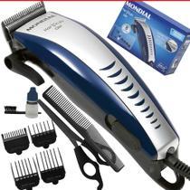 Kit Máquina Cortar Cabelo Barba Mondial 9 peças CR-07 110v Azul HAIR STYLO -