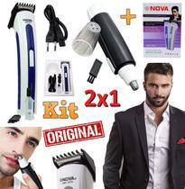 Kit Máquina de Cortar Cabelo Barba Pezinho Axila Bigode Corpo Profissional Recarregável Bivolt + Aparador Pelos Nariz - Leffa Shop