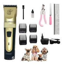Kit Máquina Tosa Aparadora Profissional Cachorro Pets 10 Pçs Sonar - Original - Connectcell