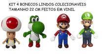 Kit Mario Luigi Yoshi e Toddy Colecionaveis Bonecos de Vinil - Baratotal Store
