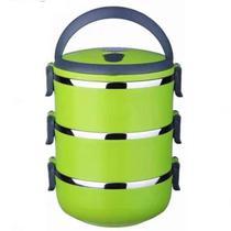 Kit marmita fitness com 3 compartimentos para transporte dupla de inox marmiteira termica hermetica - Gimp