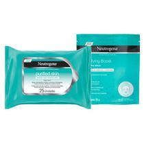 Kit Máscara de Hidrogel Neutrogena Purifying Boost 30ml + Lenço Micelar Neutrogena Purified Skin 7 em 1 com 25 Unidades -
