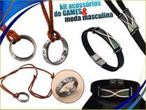 Kit Masculino - Colar com Anel Uncharted + Bracelete Preto X - Games