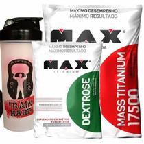 Kit Mass Titanium 17500 - 3000g Morango + Dextrose 1000g Natural + Coqueteleira- Max Titanium -