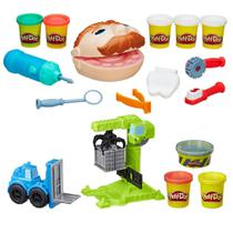 Kit Massa de Modelar - Play-Doh - Dentista e Wheels - Guindaste e Empilhadeira - Hasbro -