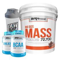 Kit Massa Hipercalórico - Big Size Mass 6kg Chocolate + BCAA + Creatina Foods 100% 100g + Coqueteleira  BRNFOODS - BRN Foods