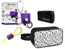 Kit Material de Enfermagem Aparelho Pressão com Estetoscópio Clínico Duplo Completo incoterm Cores + Necessaire JRMED -