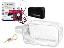 Kit Material de Enfermagem Aparelho Pressão com Estetoscópio Clínico Duplo Completo incoterm Cores + Necessaire Transparente JRMED -