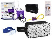 Kit Material de Enfermagem Aparelho Pressão com Estetoscópio Clínico Duplo incoterm Cores + Termômetro + Necessaire JRMED -