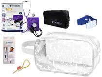 Kit Material de Enfermagem Aparelho Pressão com Estetoscópio Clínico Duplo incoterm Cores + Termômetro + Necessaire Transparente JRMED -