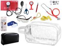 Kit Material de Enfermagem Aparelho Pressão com Estetoscópio Duplo Rappaport Premium Completo Cores + Necessaire Transparente -