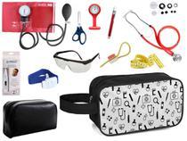 Kit Material de Enfermagem Aparelho Pressão com Estetoscópio Duplo Rappaport Premium Completo Cores + Necessaire -