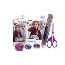 Kit Material Escolar Completo Frozen Lápis de Cor Canetinha - Tris