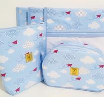 Kit Maternidade Floral- 3 Saquinhos + Porta Fraldas e Trocador - Alinhado Baby