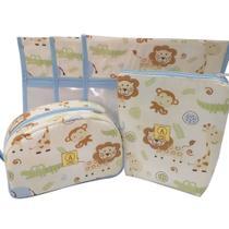 Kit Maternidade Safari Azul - 3 Saquinhos E 2 Necessaires - Alinhado Baby