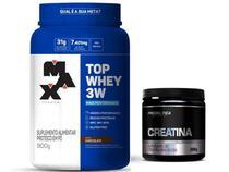 Kit Max Titanium Top Whey 3w Max titanium Creatina 300g Probiotica -